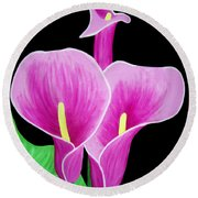 Pink Calla Lillies 2 Round Beach Towel