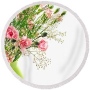 Pink Carnation Flowers Round Beach Towel