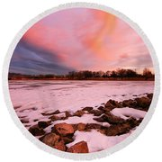 Pink Clouds Over Memorial Park Round Beach Towel