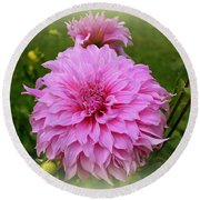 Round Beach Towel featuring the photograph Pink Dahlia by Donna Walsh