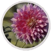 Round Beach Towel featuring the painting Pink Dahlia by Jeff Kolker