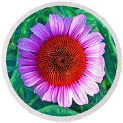 Pink Daisy By Jan Marvin Round Beach Towel