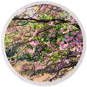 Pink Dogwood I Round Beach Towel by Anita Lewis