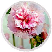 Pink Double Hollyhock Round Beach Towel