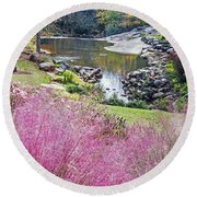 Pink Fall Round Beach Towel
