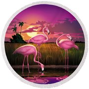 Pink Flamingos At Sunset Tropical Landscape - Square Format Round Beach Towel