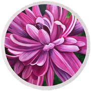 Pink Flower Fluff Round Beach Towel