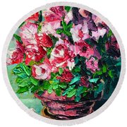 Round Beach Towel featuring the painting Pink Flowers by Ana Maria Edulescu
