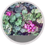 Pink Flowers Painting Round Beach Towel