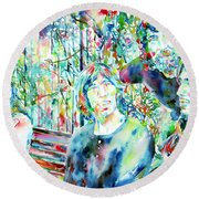 Pink Floyd At The Park Watercolor Portrait Round Beach Towel by Fabrizio Cassetta