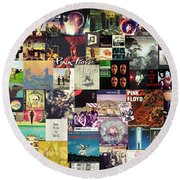 Pink Floyd Collage I Round Beach Towel