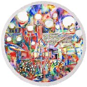 Pink Floyd Live Concert Watercolor Painting.1 Round Beach Towel