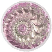 Pink Fractal Spiral Art Bright And Luxe Round Beach Towel