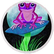 Pink Frog And Blue Moon Round Beach Towel