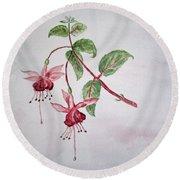 Pink Fuchsia's  Round Beach Towel by Elvira Ingram