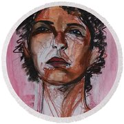 Round Beach Towel featuring the drawing Pink  by Gabrielle Wilson-Sealy