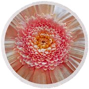 Pink Gerbera Textured Round Beach Towel