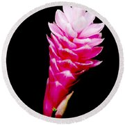Pink Ginger Lilly Round Beach Towel