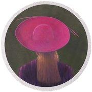 Pink Hat, 2014 Oil On Canvas Round Beach Towel
