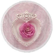 Pink Heart - Pink Camellia Round Beach Towel