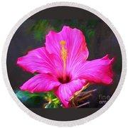 Pink Hibiscus Digital Painting In Oil Round Beach Towel