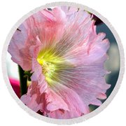 Pink Hollyhock Round Beach Towel