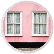 Pink House Round Beach Towel