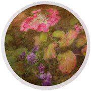 Pink Hydrangea And Purple Pansies Round Beach Towel