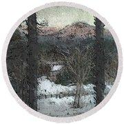 Snow - Pink Mountain - Blueridge Mountains Round Beach Towel