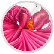 Pink Lady Round Beach Towel