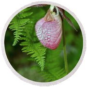 Pink Lady Slipper Round Beach Towel