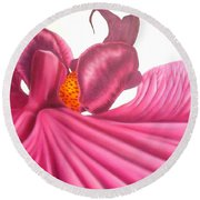 Round Beach Towel featuring the painting Pink Lady Square Dance by Darren Robinson