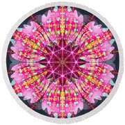 Pink Lightning Round Beach Towel
