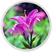 Pink Lilies Round Beach Towel by Deena Stoddard