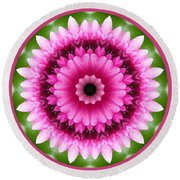 Round Beach Towel featuring the photograph Pink Lotus Kaleidoscope by Betty Denise