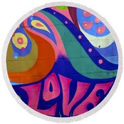 Round Beach Towel featuring the painting Pink Love Graffiti Nyc 2014 by Joan Reese