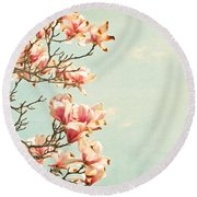 Pink Magnolia Flowers On Aqua Blue Green And French Script Round Beach Towel by Brooke T Ryan