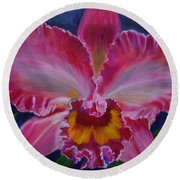 Round Beach Towel featuring the painting Pink Orchid by Jenny Lee