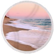 Pink Pastel Beach And Sky Round Beach Towel