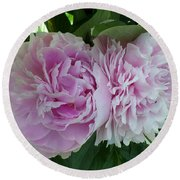 Pink Peonies 2 Round Beach Towel by HEVi FineArt