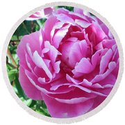 Round Beach Towel featuring the photograph Pink Peony by Barbara Griffin
