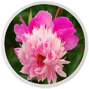 Round Beach Towel featuring the photograph Pink Peony by Mary Carol Story