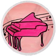 Pink Piano Round Beach Towel