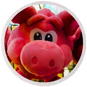 Round Beach Towel featuring the photograph Pink Piggy by Joan Reese