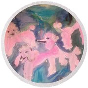 Round Beach Towel featuring the painting Pink Poodle Polka by Judith Desrosiers
