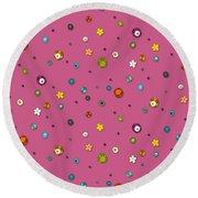 Pink Pop Flower Spot Round Beach Towel