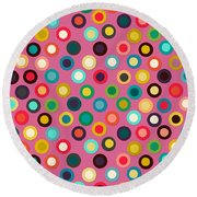 Pink Pop Spot Round Beach Towel