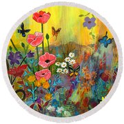Round Beach Towel featuring the painting Pink Poppies In Paradise by Robin Maria Pedrero