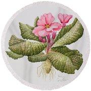 Pink Primrose Round Beach Towel