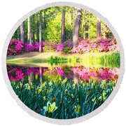Pink Reflections By Jan Marvin Round Beach Towel